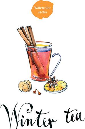 clove: Glass of Hot winter tea with orange, cinnamon, anise, clove and walnut, watercolor, hand drawn - vector Illustration Illustration