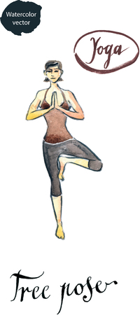 well being: Woman standing in yoga Tree posture, watercolor, hand drawn - vector Illustration