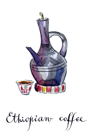 Traditional Ethiopian clay coffee pot, watercolor, hand drawn - Illustration