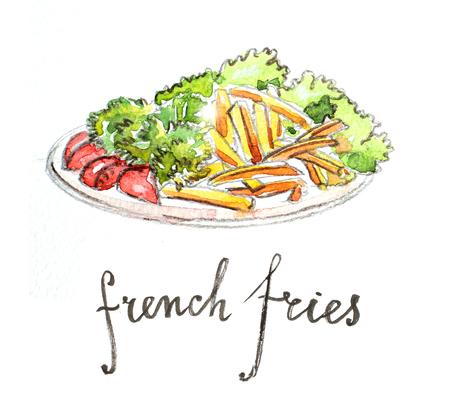 potato salad: Watercolor hand drawn french fries - Illustration