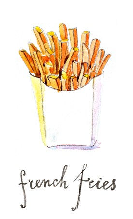 french culture: Watercolor hand drawn french fries - Illustration