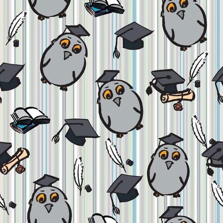 toga y birrete: Hand drawn seamless pattern of graduation day - vector Illustration Foto de archivo