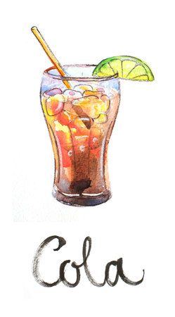 tubule: Watercolor hand drawn cola with lime and tubule - Illustration Stock Photo