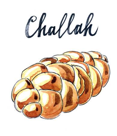 jewish: Jewish braided challah - Illustration