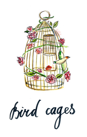 Gold cage for bird, escape, cage with roses - Illustration
