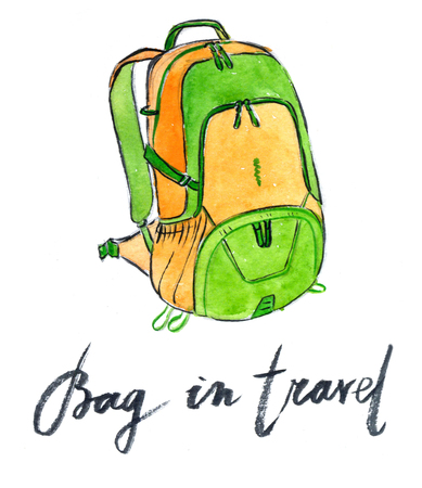 yellow adventure: Yellow-green bag in travel - Illustration Stock Photo