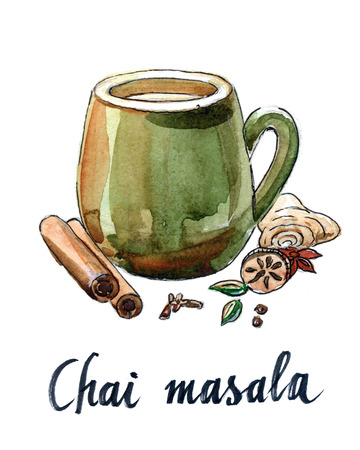 chai: Masala chai and ingredients - Illustration