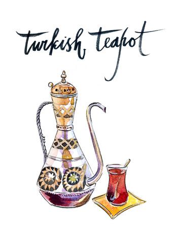 Antique turkish teapot - Illustration