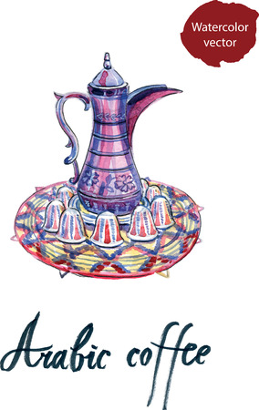 arabic coffee: Arabic Coffee pot and cups set, watercolor - vector Illustration
