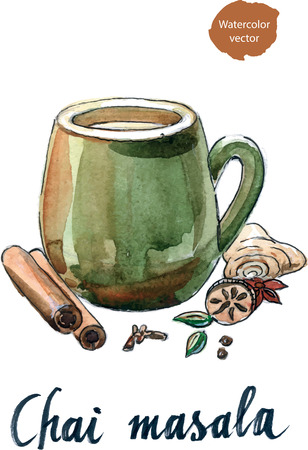 chai: Masala chai and ingredients, watercolor - vector Illustration