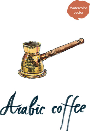 cezve: Brass arabic cezve, watercolor - vector Illustration