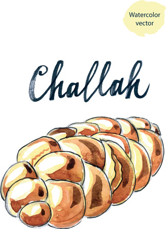jewish: Jewish braided challah, watercolor - vector Illustration Stock Photo