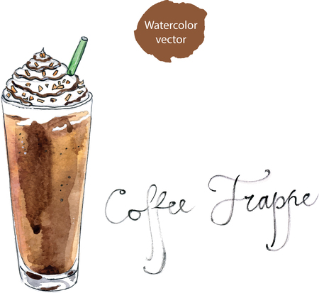 Coffee frappe, watercolor - vector Illustration