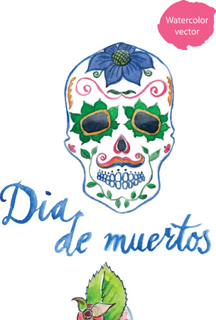 afterlife: Dia de muertos, mexican holiday, in English Day of the Dead, colored skull with flowers, watercolor - vector Illustration