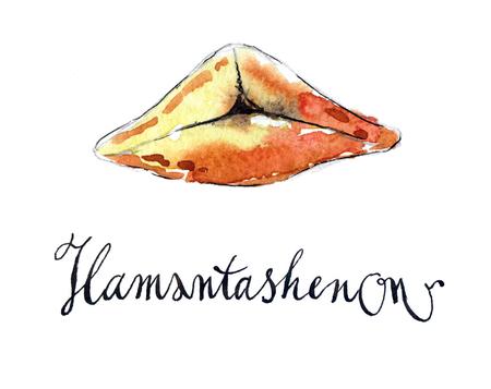 hamantashen: Homemade hamantashen for Purim, Jewish cookie, hand drawn, watercolor - Illustration