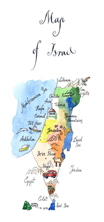 israel jerusalem: Map Israel attractions, hand drawn, watercolor - Illustration Stock Photo