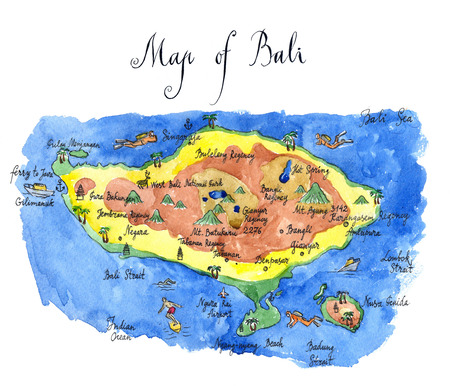 malaysia culture: Map Bali attractions, hand drawn, watercolor - Illustration Stock Photo