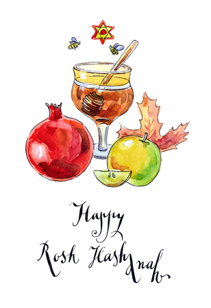 Pomegranate, apple, maple leaf and honey - symbols of jewish new year (Rosh Hashanah), hand drawn, watercolor - Illustration Stock Photo