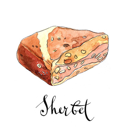 sherbet: Piece of arabic sherbet with peanut, delicious dessert, hand drawn, watercolor - Illustration Stock Photo