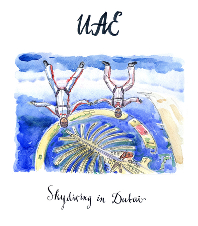 sky dive: Two women-skydivers fly in Dubai above island Palm Jumeirah, United Arab Emirates, hand drawn, watercolor - Illustration