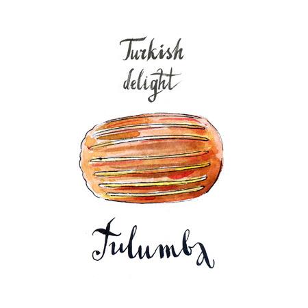 turkish dessert: Traditional turkish dessert, tulumba, hand drawn, watercolor - Illustration
