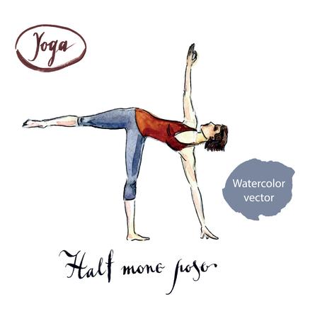 half moon: Woman standing in yoga Half moon posture, watercolor, hand drawn - vector Illustration Stock Photo