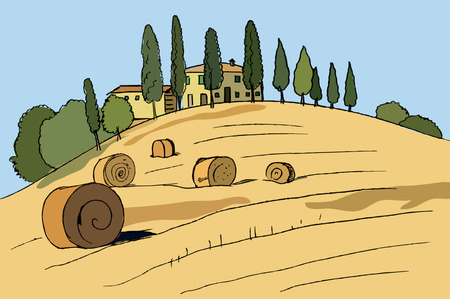 tuscany landscape: Typical Tuscany landscape, hand drawn, Illustration - vector Illustration