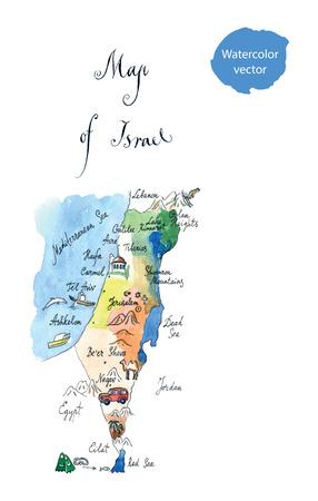 Map Israel attractions, hand drawn, watercolor - vector Illustration Zdjęcie Seryjne