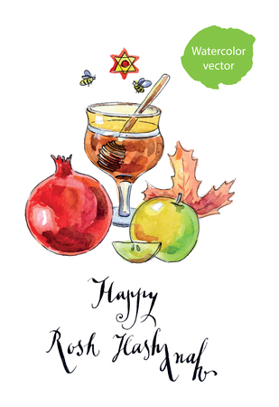 apple and honey: Pomegranate, apple, maple leaf and honey - symbols of jewish new year (Rosh Hashanah), hand drawn, watercolor - vector Illustration