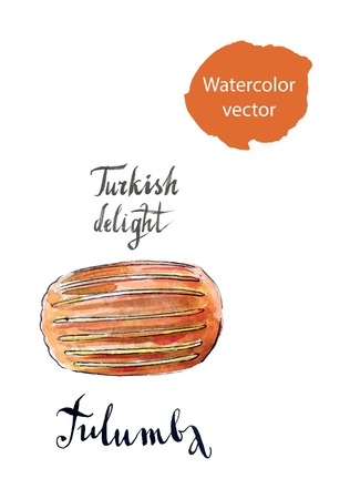 turkish dessert: Traditional turkish dessert, tulumba, hand drawn, watercolor - vector Illustration Stock Photo
