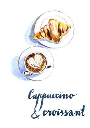 high angle view: French breakfast of coffee and croissant, latte art