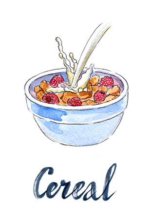 cereal bowl: Flakes with raspberries and milk, breakfast cereal bowl, hand drawn, watercolor - Illustration