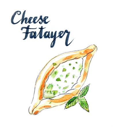 turkish dessert: Cheese pastry fatayer jebneh, arabic pastries, hand drawn, watercolor - Illustration