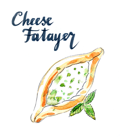 Cheese pastry fatayer jebneh, arabic pastries, hand drawn, watercolor - Illustration