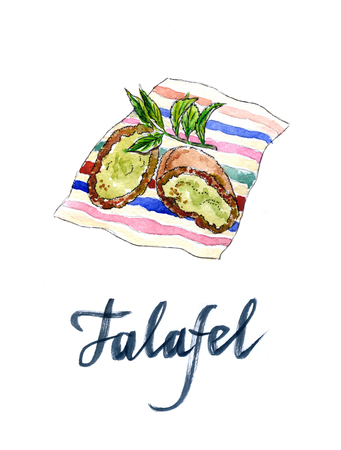 middle eastern food: Two half falafel chickpea balls, hand drawn, watercolor - Illustration