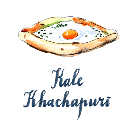 the caucasian: Georgian cheese pie with egg, national caucasian dish, hand drawn, watercolor - Illustration