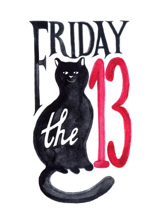 Friday thirteenth grunge illustration with numerals and black cat, hand drawn, watercolor - Illustration