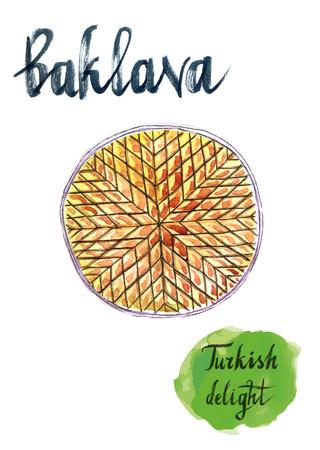 turkish dessert: Traditional Turkish Baklava Platter, hand drawn, watercolor - Illustration