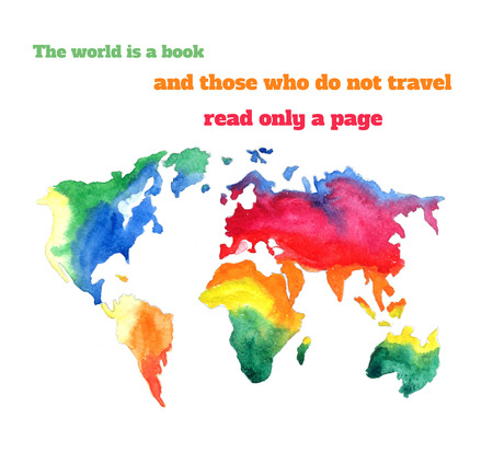 varicolored: The world is a book and those who do not travel read only a page. Varicolored watercolour world map with different continents, hand drawn - Illustration