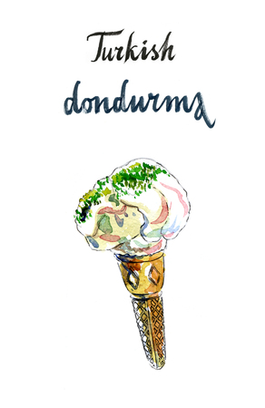 indulgence: Turkish dondurma, in English means Turkish ice cream, watercolor, hand drawn - Illustration Stock Photo