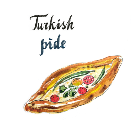 take out: Traditional turkish pizza - pide with cheese, tomatoes and peppers, hand drawn, watercolor - Illustration