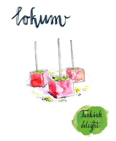 delight: Turkish sweet delight, locum, watercolor, hand drawn - Illustration Stock Photo