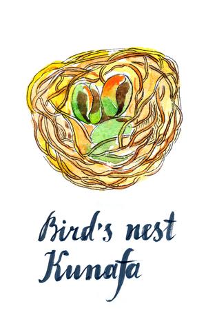 middle eastern food: Birds nest Kunafa, eastern sweets, hand drawn, watercolor - Illustration