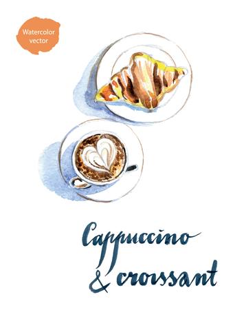Frans ontbijt met koffie en een croissant, latte art, getrokken hand, aquarel - Illustratie Stock Illustratie
