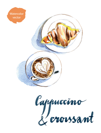 high angle view: French breakfast of coffee and croissant, latte art, hand drawn, watercolor - Illustration