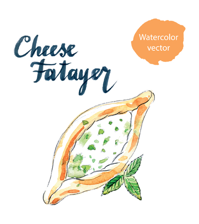 middle eastern food: Cheese pastry fatayer jebneh, arabic pastries, hand drawn, watercolor - Illustration