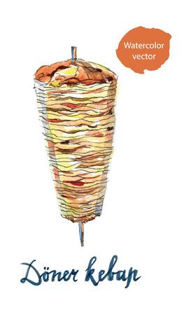 """Doner kebap of shoarma betekent """"Vlees in pita brood, rollen met vlees"""", getrokken hand, aquarel - Illustratie"""