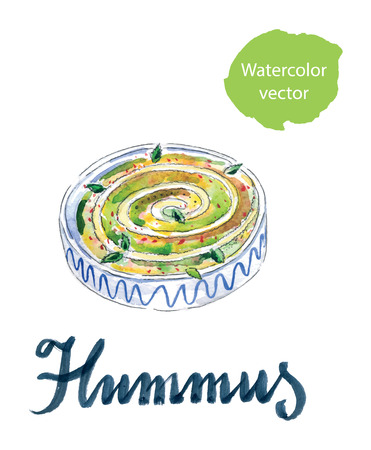 middle eastern food: Fresh traditional hummus Hebrew lunch, hand drawn, watercolor  Illustration