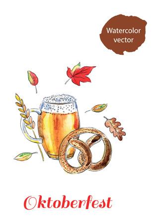 frothy: Mug of bavarian lager beer and bavarian pretzel, Oktoberfest, hand drawn, watercolor - Illustration Illustration