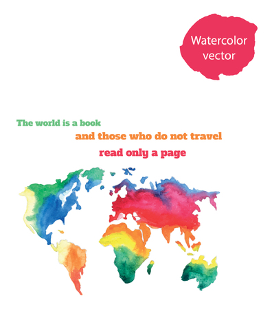 varicolored: The world is a book and those who do not travel read only a page. Varicolored watercolour world map with different continents, hand drawn Illustration